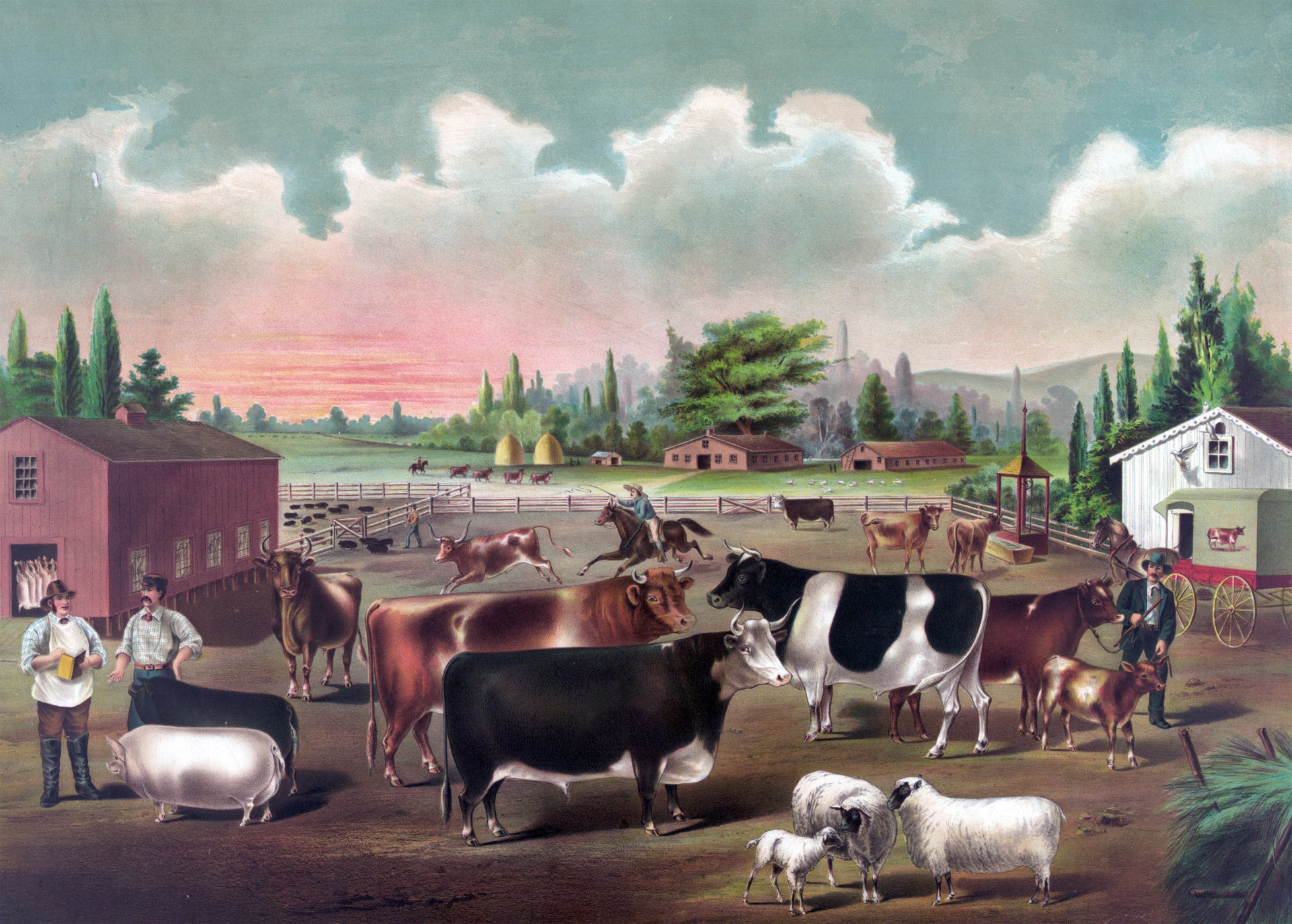 Painting of Local Rancher Selling to a Customer